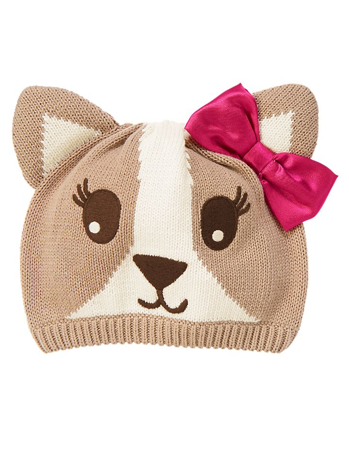 Cute little pup! Soft corgi sweater hat features 3-D ears and a fancy bow. 100% cotton. Features 3-D ears, satin bow and embroidery. Spot clean; imported. Collection Name: Stylish Corgi.