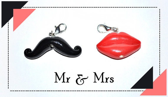 Mustache and Lips  Mr & Mrs  Two in One by PolyClayUtopia on Etsy,