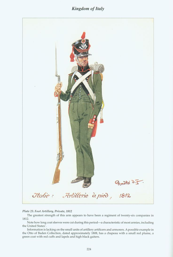 Kingdom of Italy: Plate 23: Foot Artillery, Private, 1812