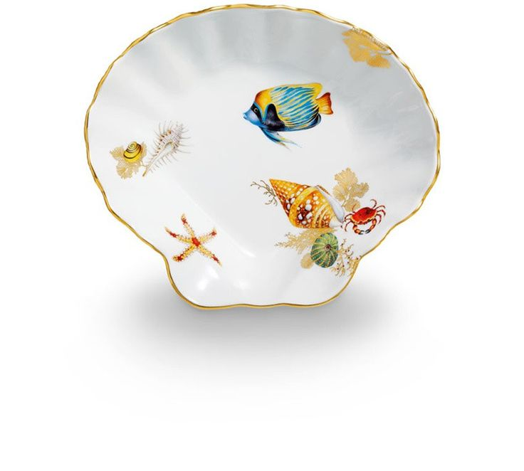 serving dish, Marine fauna, coloured, with gold, gold rim, num., lim., 22 cm