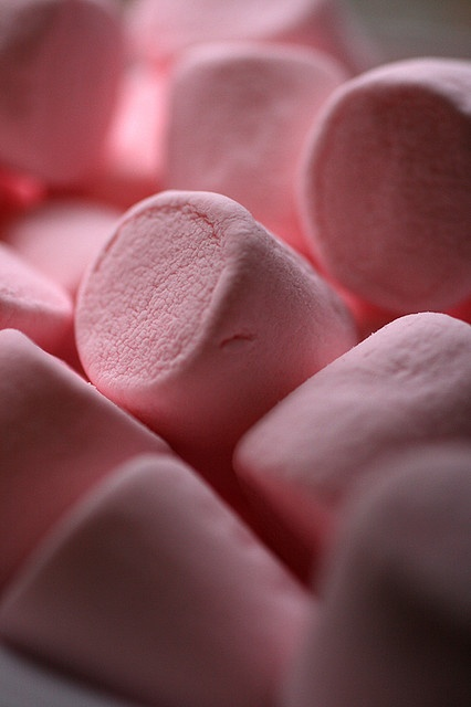 Pink marshmallows. They look as if they might be cinnamon-flavored...I keep thinking of cinnamon gum from my childhood.