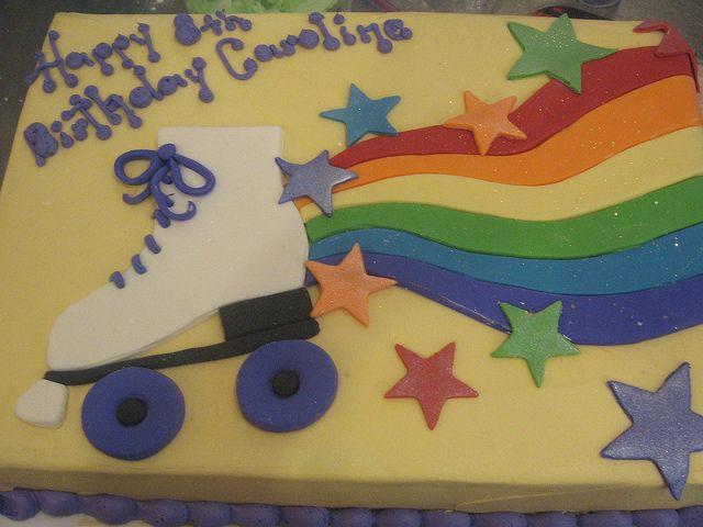 rainbow roller skate cake | sheet cake with fondant rollerskate, rainbow, and disco dust ...
