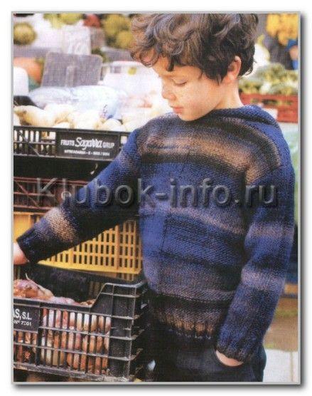 Вязание спицами. Меланжевый джемпер с капюшоном для мальчика. Размеры на 2, 4, 6, 8 и 10 лет
