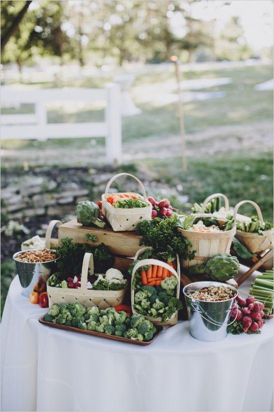 veggie table at wedding cocktail hour #receptionfood #cocktailhour #weddingchicks http://www.weddingchicks.com/2014/01/13/eclectic-midwest-wedding/