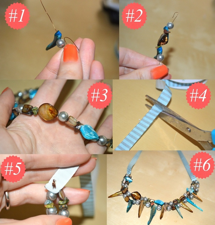 diy colier handmade din margele si panglica