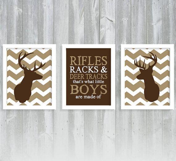 Chevron Deer Print Set - Deer Nursery - Hunting Nursery - Antler Print - Set of Three 8x10 Printset on Etsy, $33.00