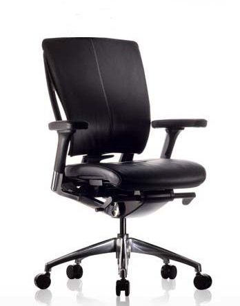 Eaton Executive Chair from Seated - The Eaton Executive Chair is an elegant addition to any corporate office, featuring a lockable synchronised swung mechanism, adjustable Lumbar support and seat slide. The Chair is finished in soft and supple Italian Leather and is standard with 3D Adjustable arms with padded leather arm pads and a polished aluminium 5 star base. Available at www.seated.com.au