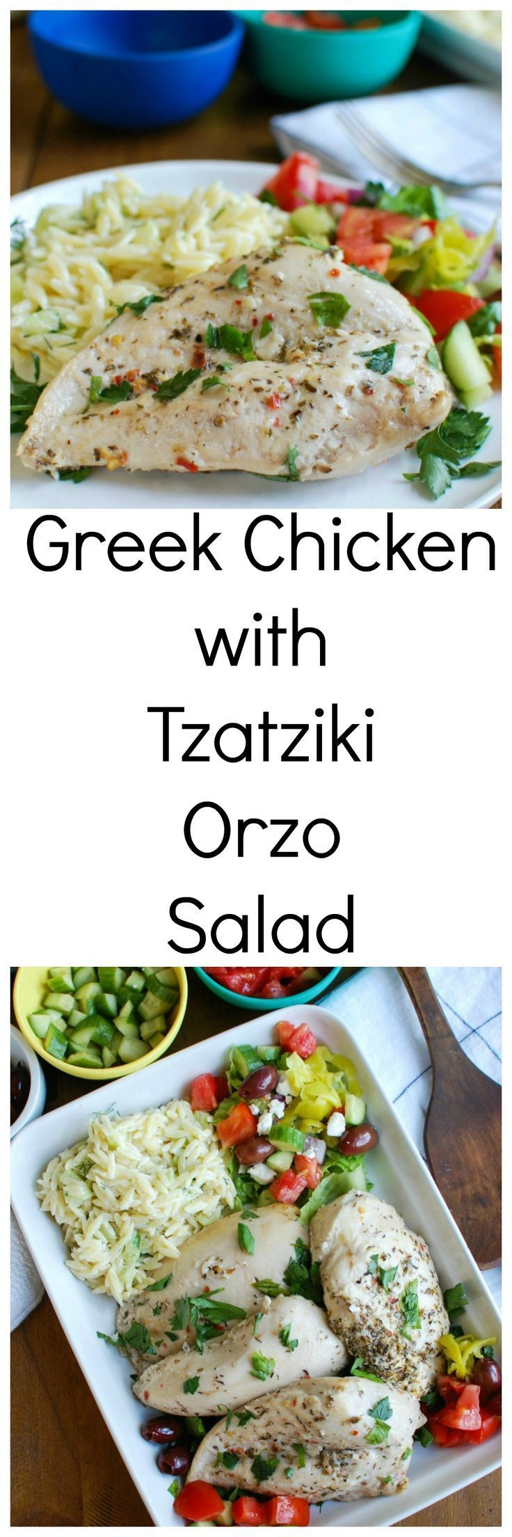 Greek Chicken with Tzatziki Orzo Salad will remind you of your favorite flavors of the Mediterranean.  Chicken breasts are marinated in a Greek marinade and then baked and paired with a tzatziki orzo salad and garnished with diced tomatoes, cucumbers, feta cheese and kalamata olives. // A Cedar Spoon