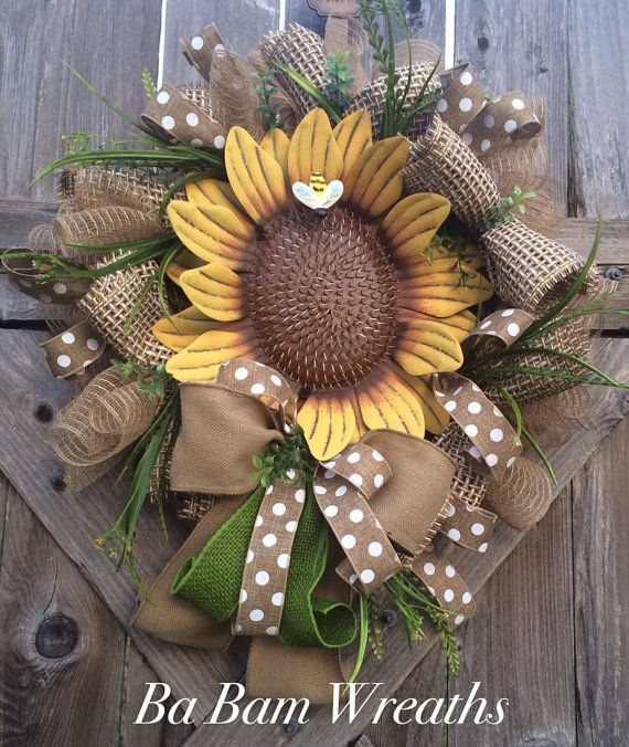 Sunflower Wreath Everyday Wreath Summer Wreath by BaBamWreaths