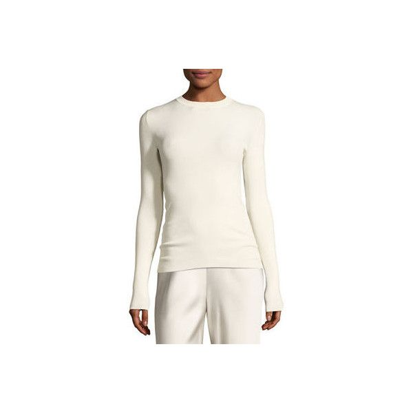 The Row Ridiah Long-Sleeve Crewneck Sweater ($990) ❤ liked on Polyvore featuring tops, sweaters, neutral, women's apparel sweaters, pullover sweater, white pullover, ribbed crew neck sweater, white pullover sweater and crew sweater