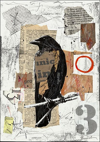 The Raven Collage - Mixed Media Collage, M. E. Olageanu