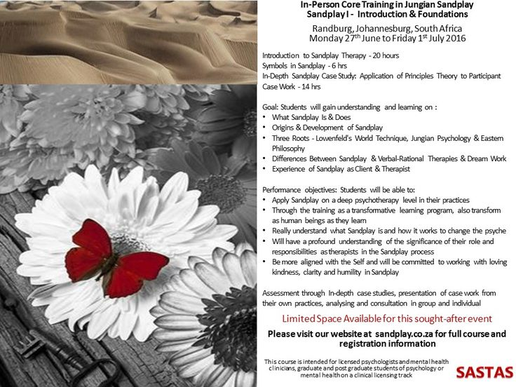 Sandplay training in Randburg, Johannesburg in June and July
