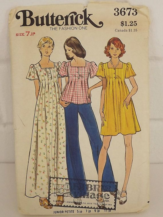 Vintage 70's Sewing Pattern Dress and Top by SuzisCornerBoutique, $10.00