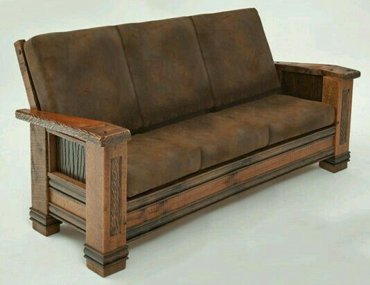 Rustic couch, made from recycled barn wood.