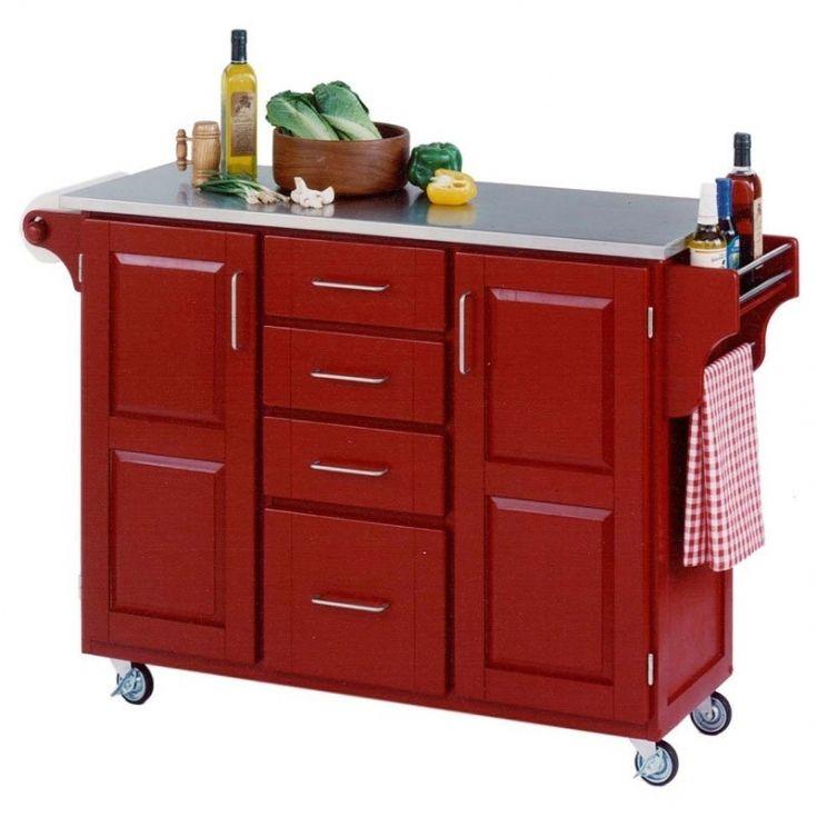 Beautiful Red Kitchen Cart Island Red Kitchen Cart Red Kitchen Kitchen Island Cart