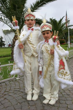 Children in traditional dress heading for Circumcision Ceremony, Historic centre of Istanbul.