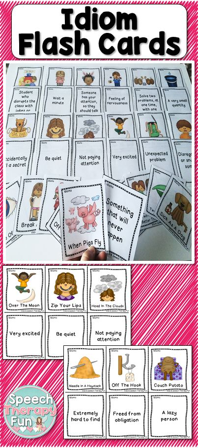 Idiom task cards include 11 Pages of Idiom Cards (33 Sets of Cards).  One card contains a picture with the idiom and the 'matching' card contains the definition.
