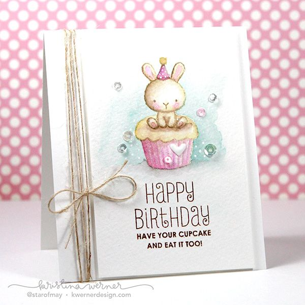 Distress Markers & Mama Elephant Carnival Cupcakes – Color Wednesday #58 - Kristina Werner, stinkin cute card