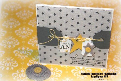 Une série de cartes pour vous souhaiter à toutes (et à tous ...) une très bonne année 2012. Que cette nouvelle année accomplisse vos plus beaux souhaits et se remplisse des couleurs du bonheur. La première carte répond au défi n°1 proposé par l'équipe...