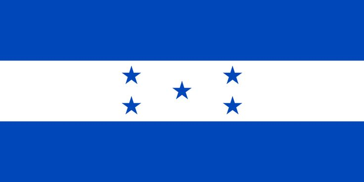 National flag of Honduras from http://www.flagsinformation.com/honduran-country-flag.html  Three equal horizontal bands of blue (top), white, and blue with five blue, five-pointed stars arranged in an X pattern centered in the white band; the stars represent the members of the former Federal Republic of Central America - Costa Rica, El Salvador, Guatemala, Honduras, and Nicaragua; similar to the flag of El Salvador, which features a round emblem.