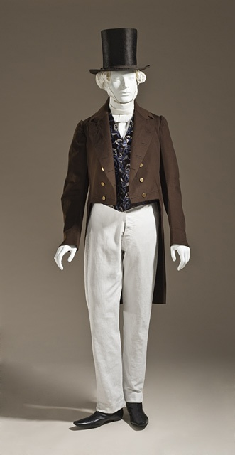 Man's Tailcoat.  Scotland, circa 1845 Wool plain weave, full finish, a) Center back length: 42 1/2 in. (107.95 cm) (M.2007.211.958) Los Angeles County Museum of Art.