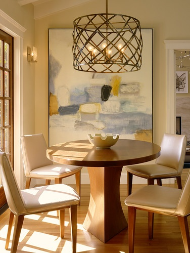 Palo Alto Residence contemporary dining room... Light fixture! Scale of the artwork... Table and chairs!!