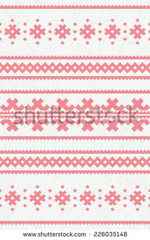 seamless geometric tribal red pattern on watercolor paper texture background