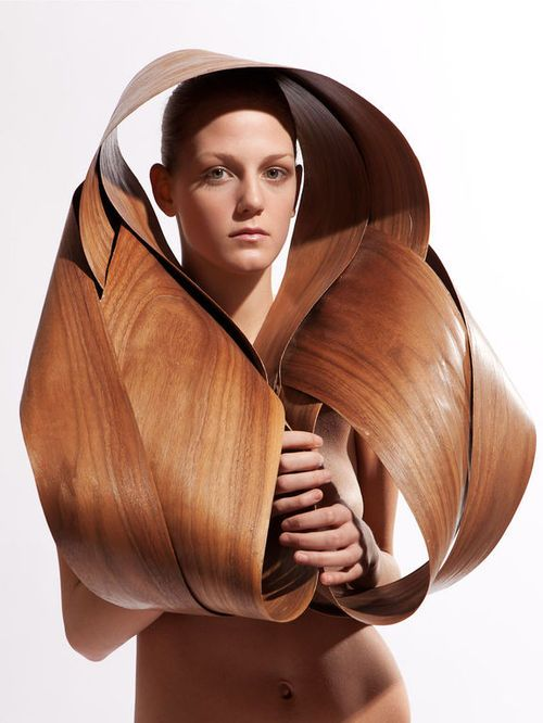 Wearable Sculpture with beautifully constructed fluid contours; sculptural body adornment // Arsida Smajli