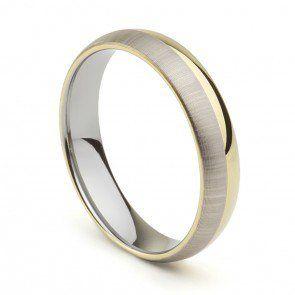 Aliança Psiquê 5mm Tungstênio Ouro e Prata