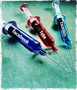 This image can be interpreted in two critical ways, both suggesting that people 'need' social media. From one perspective, these syringes, labeled with different SNSs could represent different forms of drugs. From another point of view they could represent a form of medicine or cure. Either way these 'injections' of social media symbolize the idea that they are a necessity, whether it be for an addiction, or for someone's purported 'health' in the information age.