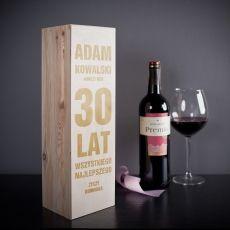 Skrzynka personalizowana na wino TRZYDZIESTKA idealny na urodziny