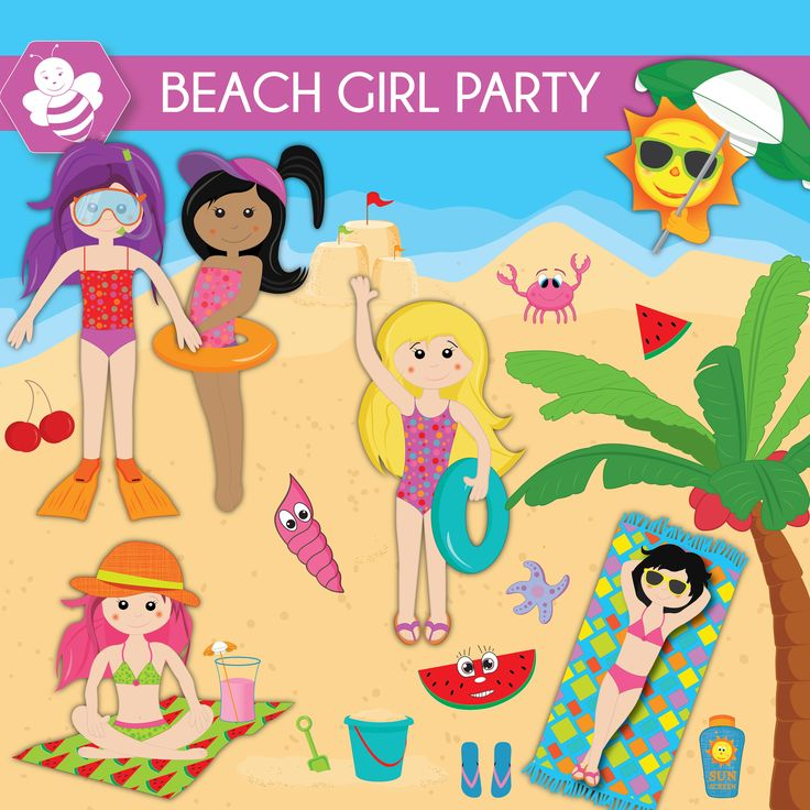 Beach Girl Party Clipart, beach clipart, commercial use, beach kids vector graphics, vacation kids digital clip art, CL0031 by Sweetdesignhive on Etsy