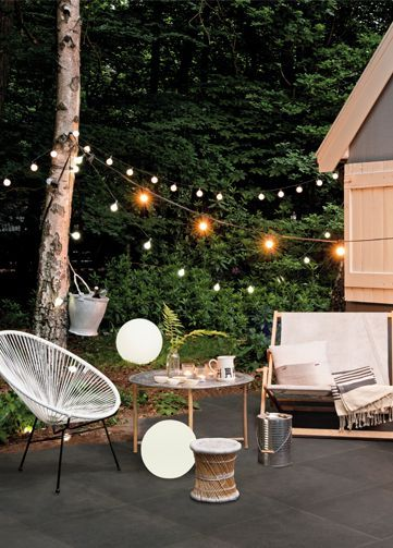 Outdoor lighting is key to adding a romantic mood.