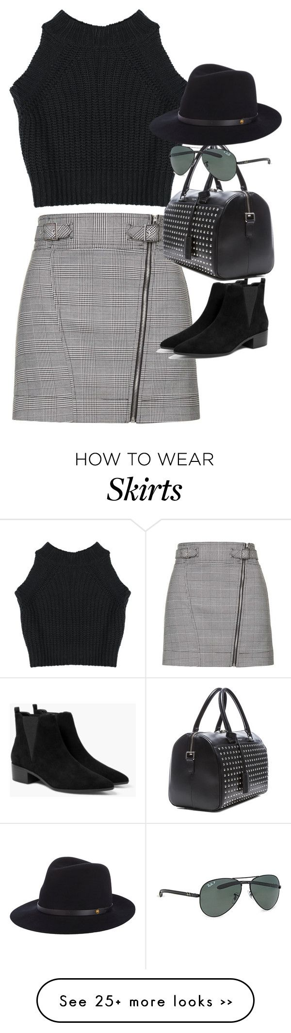 """Inspired outfit with a check skirt"" by whathayleywore on Polyvore featuring Topshop, MANGO, Yves Saint Laurent, Ray-Ban and rag & bone"