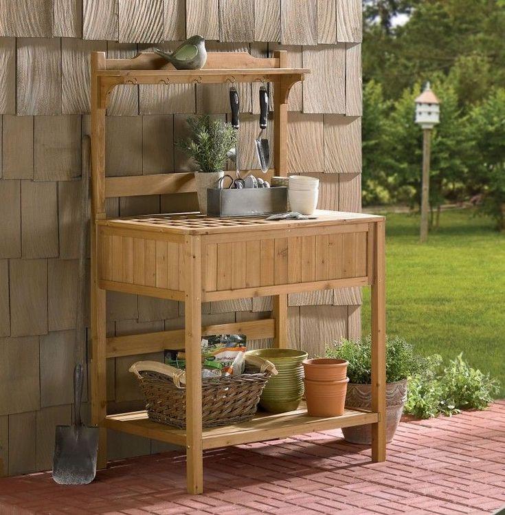 Garden Potting Bench Fir Wood Tool Storage Shelf Work Surface Table Top Soil #MerryGarden