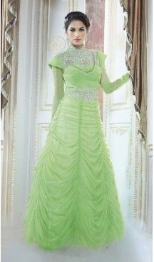Alluring Mint Green Net Party Wear Gown #gowns , #designer , #womens , #wedding , #evening , #party , @heenastyle , #readymade , #online , #mode