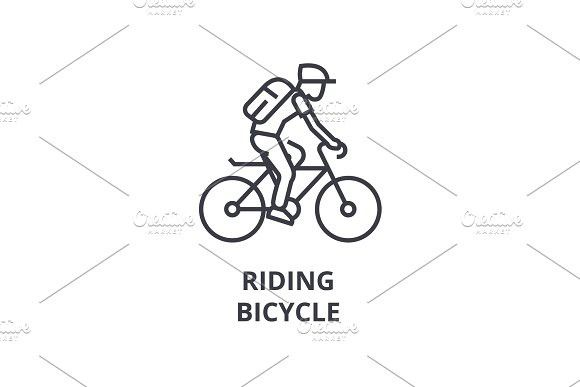 Riding Bicycle Line Icon Outline Sign Linear Symbol Vector