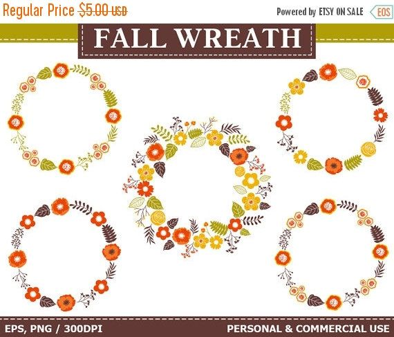 70% OFF SALE Digital Digital Fall Wreath Clip Art - Flowers, Autumn, Wreath, Frames, Fall Clip Art