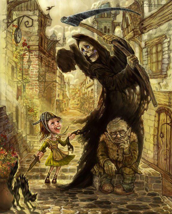 Hey Mister, play with me?   art by Ekaterina Pushkarova: Ekaterina Pushkarova, Art Features, Concept Art, 2D Fantasy, Fantasy Art, Grim Reaper, Artdark Fantasy, 2D Illustration, Cartoons Character