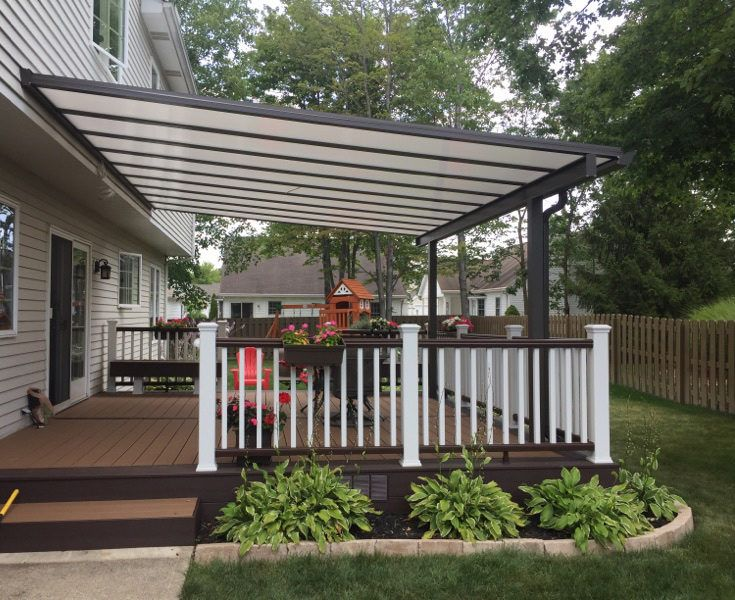 Ohio Home With Bright Covers Deck Cover Outdoor Shade Shade Structure Outdoor Pergola