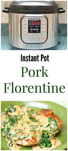 Instant Pot Pork Florentine has a rich cream sauce made with fresh spinach, onion, garlic, chicken broth, cream, a touch of nutmeg and a healthy dose of Parmesan cheese. The velvety sauce enrobes seasoned pork chops in such a perfect way that you may not