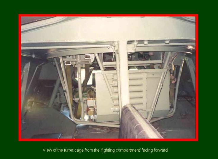 SADF.info  RATEL VIEW of the turret cage from the 'fighting compartment facing forward.