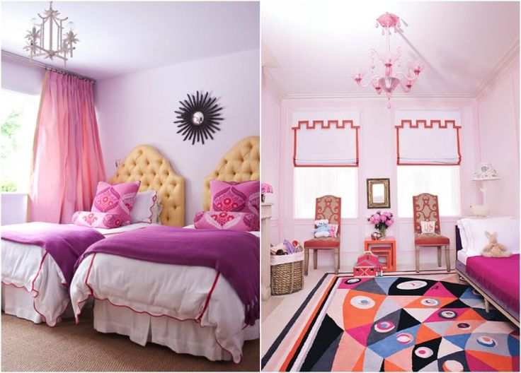 Love these brightly colored little girls rooms