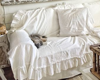 Ruffled Cotton Throw | Dog Blanket | Animal Cover | Shabby Chic Bedding | Pet Sofa Cover | Ruffled pet blanket | Ruffled Bedding