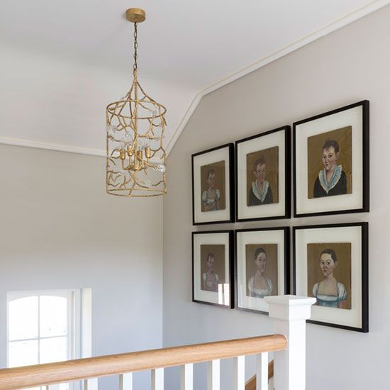 Second staircase and feature art wall in country manor house build and interior design project. Located in Holywood, Co Down. Interiors by Thompson Clarke.