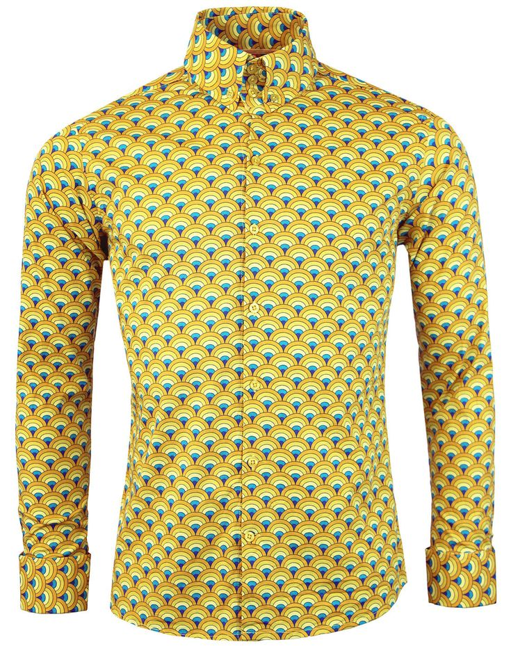 Eh...Mustard Ceremonial?  - Madcap England 'Peacock' 60s Mod button down shirt in yellow. - Retro psychedelic rainbow print f