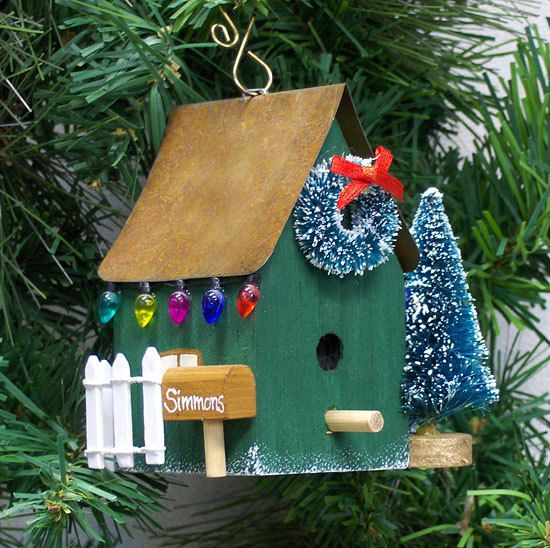 Personalized Green Birdhouse Christmas by mawickecreations on Etsy, $16.00