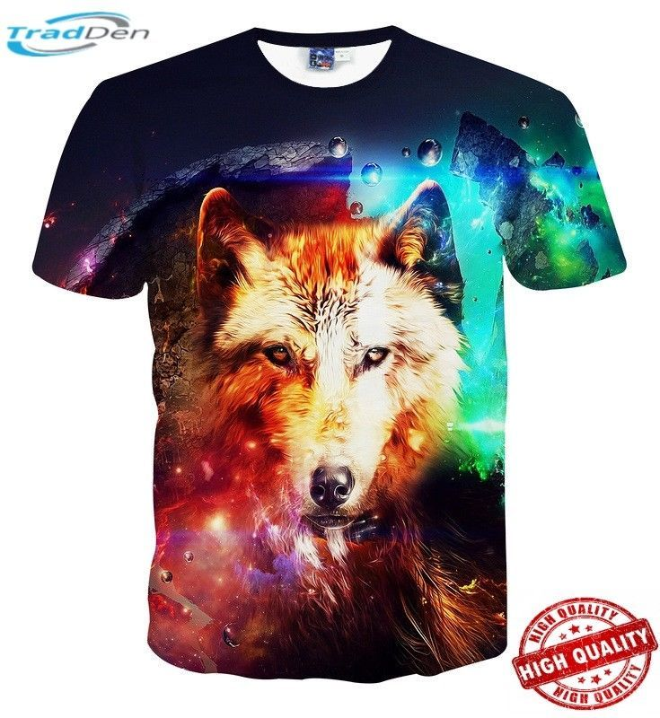 Men 3D Howling Wolf Moon Printed Unisex Casual T-Shirts Short Sleeve Shirt New