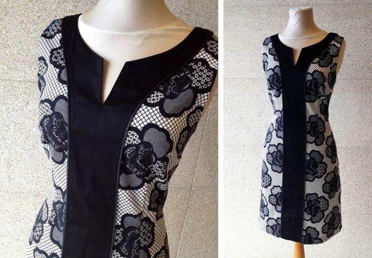 Vestido de manga corta en blanco y negro, con combinación de tejidos y efecto asimétrico en escote, Naf Naf.