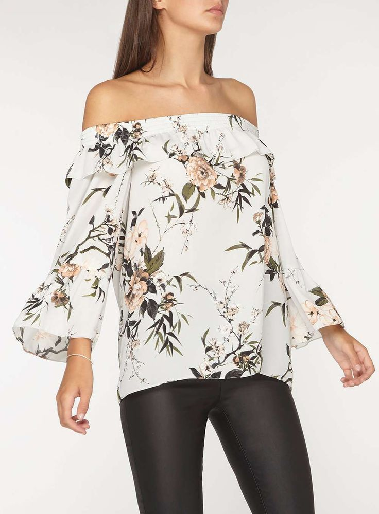 Womens **Tall Grey Floral Print Bardot Top- Grey